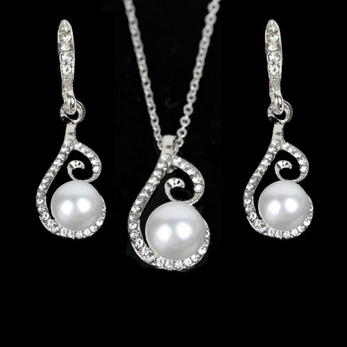 New Water-drop Pearl Rhinestone Necklace Brincos Jóias Set para Casamento Bridal Accessory Wedding