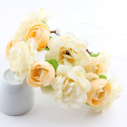 Piękna Bohemia Flower Crown Garland Kobiety Baby Diadem Beach Wedding Banquet Festival Wreath