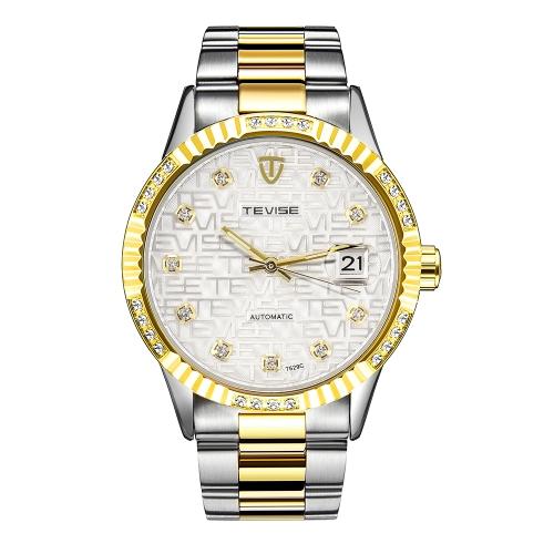 TEVISE Luxury Luminous Automatic Mechanical Men Zegarek wodoodporny Diamond Stainless Steel Man Business Zegarek samonośny + pudełko