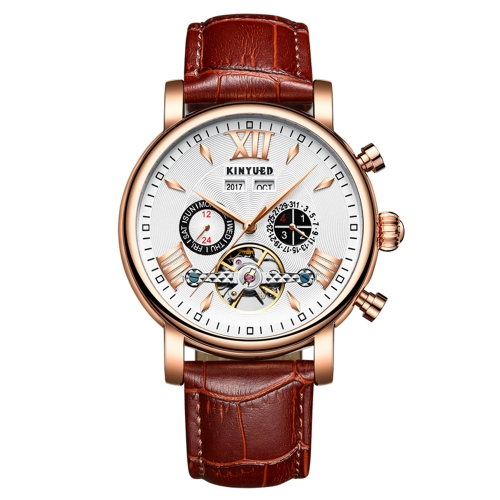 KINYUED Luxus Skeleton Self Wind automatische mechanische Herrenuhr