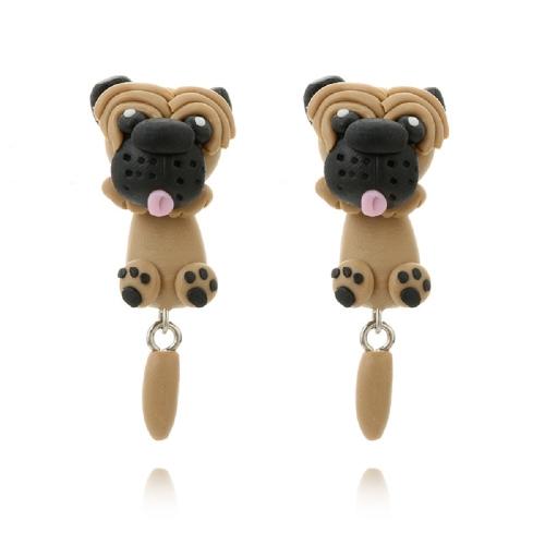 Mode Cartoon niedlichen Hund Ohrringe handgemachte Ton Damen personalisierte Ohrringe Schmuck