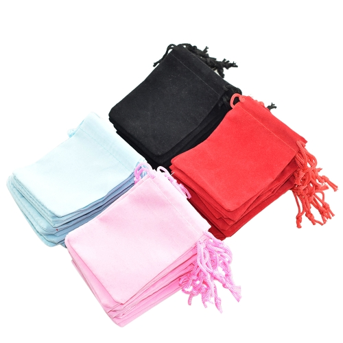 20Pcs Random Color Velvet Bead Handbags Jóias Gift Bags com Drawstring