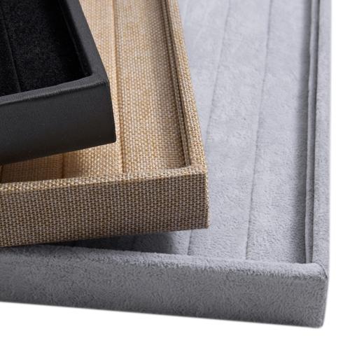 Image of Velvet Leinen Leder Ringe Display Schmuck Aufbewahrungsbox Fall Schmuck Display Tray Show Case