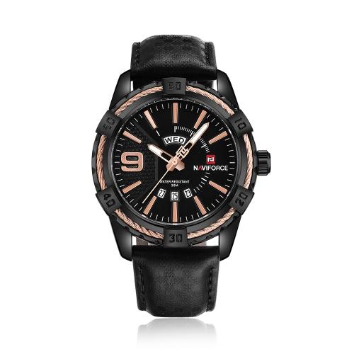 NAVIFORCE moda causal hombres relojes reloj de cuarzo masculino 3ATM resistente al agua reloj luminoso calendario pantalla de tiempo