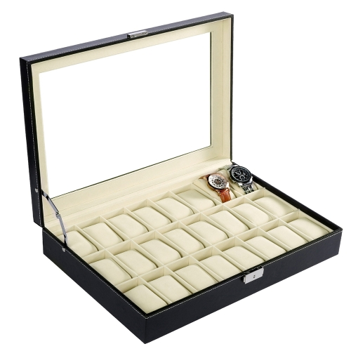 Watch Box 24 Slot Grid Watch Display Case Gabinete de caixa de jóias com chave de bloqueio