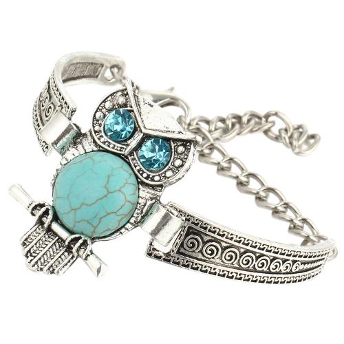 Fashion Retro Boho Turquoise zaokrąglone sowa Słoń Palm Hand Circle Bransoletka dla kobiet Biżuteria