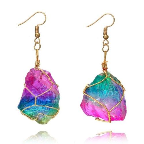Moda creativa Rainbow Crystal pendientes de piedra natural gota para el oído y colorido envoltura de alambre collares pendientes largos un traje elegible de accesorios para mujeres y niñas