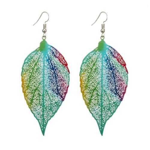 Orecchini di foglie colorate di stile etnico Orecchini di foglie di ceramica arcobaleno con la lega