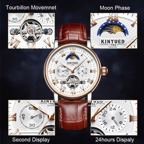 KINYUED JYD-J029 Men Wrist Watch Automatic Mechanical Watch Leather Strap Moon Phase luminous Self-Wind Band with Gift Box