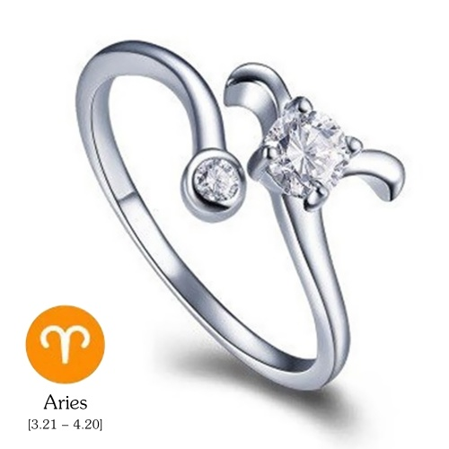 12 Constellations Exquisite Glistening Retro Lovers Ring Women Ancient Elegant Attractive Zinc Alloy Finger Ring