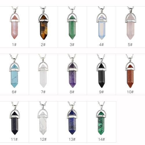 Мода женщина девушка ювелирные изделия драгоценного камня ожерелье природный камень гексагональной направленной рейки чакры подвеска кристалл цепи ожерелье 1 # фото