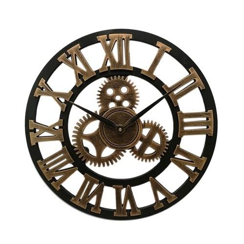 Horloge murale en bois faite main vintage Steampunk à motifs décoratifs rétro Wag-On-The-Wall 3D