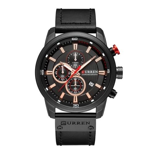 Curren homens moda pu couro esportes relógio de pulso relógio casual luxo resistente à água relógio de quartzo com caixa requintada