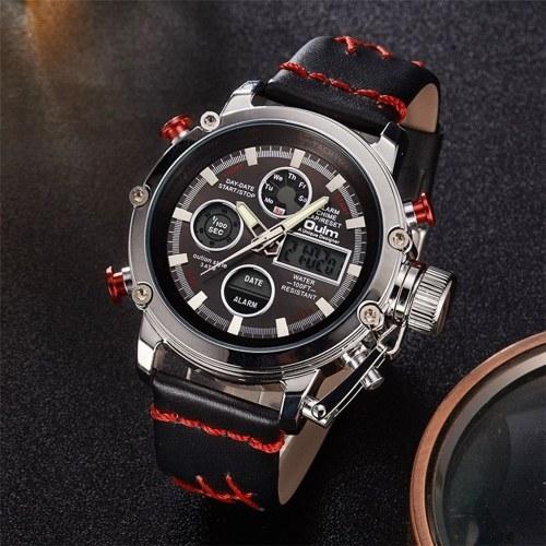 Image of Oulm Multifunktions Männer Sport Quarz Uhren Mode Leder Band Armbanduhr Analog Digital Dual Display Kalender Datum Alarm Uhren