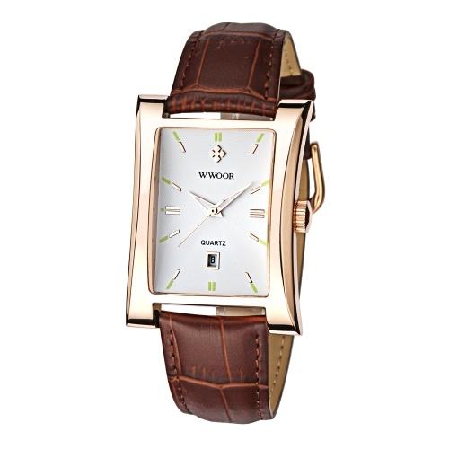WWOOR Привлекательные кварцевые часы с прямоугольным циферблатом