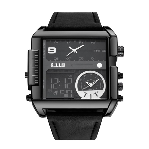 6.11 montres pour hommes, bande de cuir, cadran rectangulaire, montres à quartz analogiques