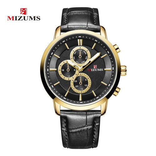 MIZUMS Homens Moda Alloy Case Leather Watch Banda