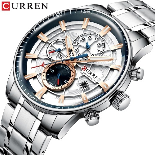 Curren Men Business Watch Fashion Alloy Case Stainless Steel Band Watch Exquisite 3 ATM Waterproof Calendar Quartz Wrist Watch