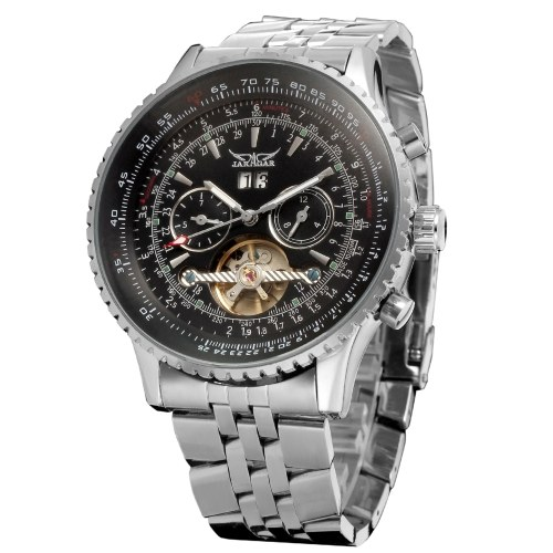 Men Automatic Mechanical Watch Steel Band Fashion Multifunction Wristwatch Calendar Date Display Watches