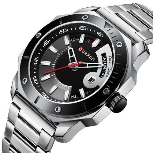 CURREN 8344 hommes montre à Quartz mode montre-bracelet multifonction bracelet en acier inoxydable 3ATM affichage lumineux chronographe calendrier Date montres