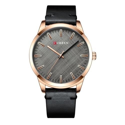 CURREN Men's Quartz Watch Leather Strap Fashion Business Wristwatch 3ATM Dress Watches