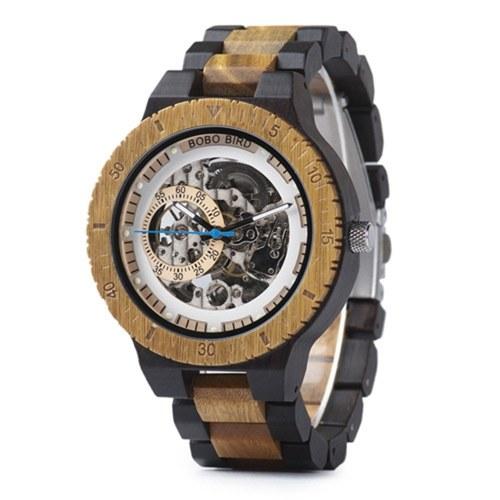 BOBO BIRD Montre en bois pour homme Montre-bracelet mécanique avec boîte-cadeau Montres en bois pour homme