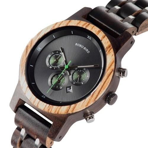BOBO BIRD montre en bois pour femmes chronographe et affichage de la date montre à Quartz en bois montre-bracelet de mode pour femmes