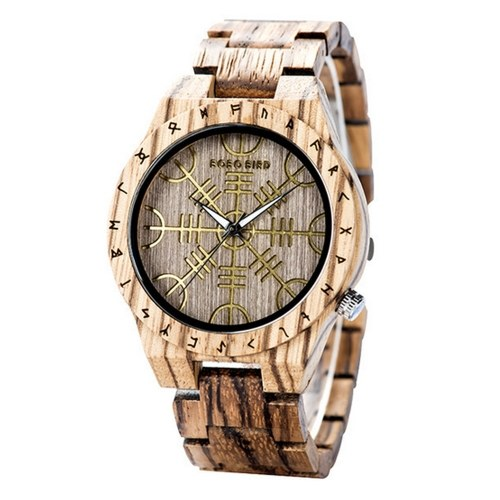 BOBO BIRD Orologio da uomo in legno Cronografo con movimento al quarzo in legno con funzione luminosa Orologio da uomo