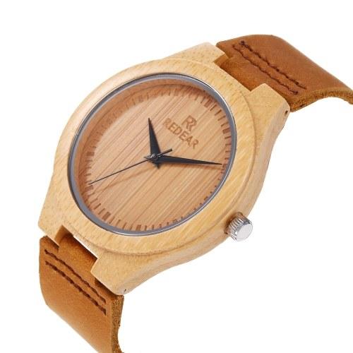 Montre en bois en bambou pour homme Montre en bois REDEAR avec bracelet en cuir analogique Quartz léger montres décontractées montre-bracelet
