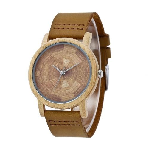 Мужские деревянные часы из бамбука REDEAR Wood Watch с кожаным ремешком Аналоговые кварцевые легкие повседневные часы Набор для любителей наручных часов