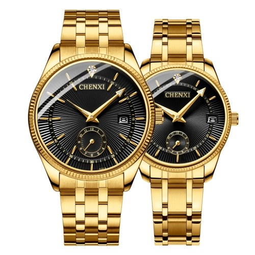 Couple montres CHENXI montre à quartz montre-bracelet de mode avec bande en acier inoxydable pointeur lumineux 3ATM étanche pour les amoureux quotidiens et d'affaires