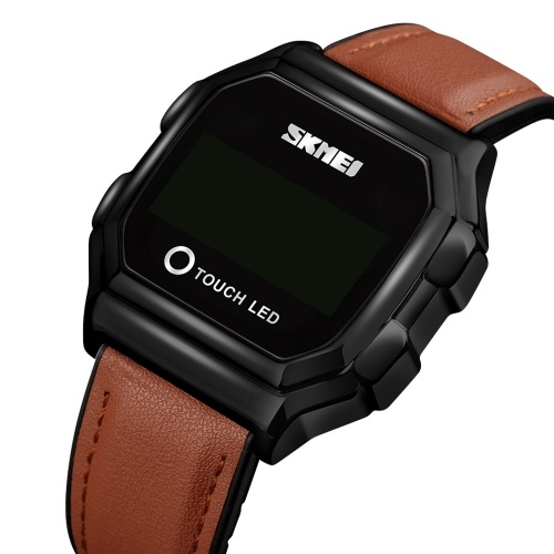 SKMEI Men Digital Touch Watch Time Display Backlight 3ATM Waterproof Male Fashion Watches Wristband for Daily Life Business Men's Gifts