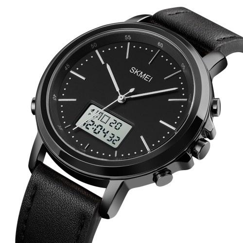 SKMEI Мужские часы Минимализм Аналоговые цифровые часы с будильником Секундомер со светодиодной подсветкой Кожаный ремешок Классические электронные наручные часы