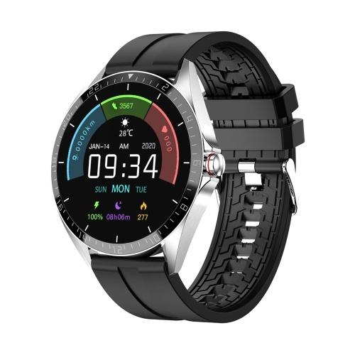 1,28 Zoll Smart Watch Fitness Tracker mit Körper- und Umgebungstemperaturmonitor IP67 Wasserdichte Sportuhr mit mehreren Sportmodi Kalorienzähler Voll-Touchscreen-Uhr mit Silikonarmband