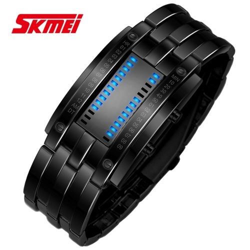 SKMEI Couple Watch Digital Electronic Wristwatch Cool LED Display Time/ Calendar Lovers Wristbands 30M Waterproof Sports Watch Female Male Fashion Stu