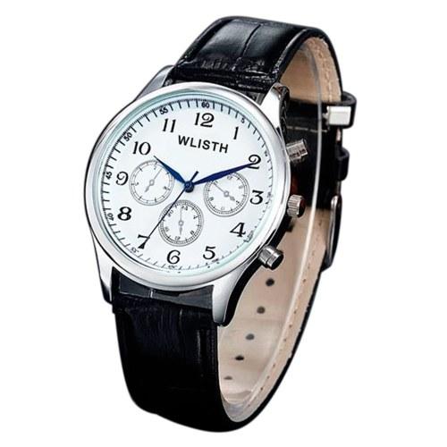 WLISTH P603 Elegant Noble Men Quartz Watch Business Casual Simple Gentleman Wrist Watch 30M Waterproof Wear-resistant Wristband with Steel Strap/Leather Strap (Optional)