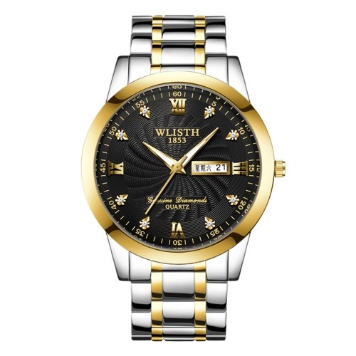 WLISTH Q351 Couple Watch Romantic Stylish His and Hers Quartz Wrist Watch Classic Business Dress Watch for Men Women with Week/Date/Luminous/30M Waterproof Stainless Steel Strap