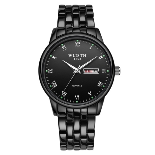 WLISTH Q359 Couple Watch Elegant Stylish His and Hers Quartz Wrist Watch Classic Business Dress Watch for Men Women with Week/Date/Luminous/30M Waterproof Stainless Steel Strap