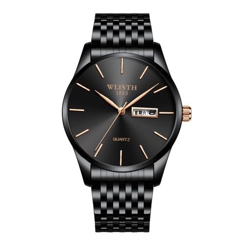 WLISTH S512 Stylish Business Men Quartz Watch Multifunctional Minimalist Wrist Watch with 30M Waterproof/Dual-calendar Display Elegant Gentleman Watch with Stainless Steel Strap