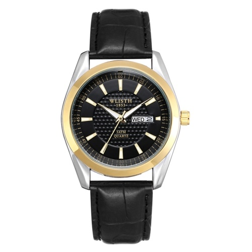 WLISTH S903 Classic Couple Watch Minimalist His and Hers Quartz Wrist Watch Business Casual Dress Watch for Men Women with Calendar/Luminous/30M Waterproof Leather Strap