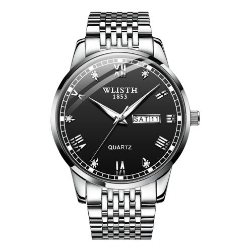 WLISTH S931 Stylish Classic Couple Watch Multifunctional His and Hers Quartz Wrist Watch 30M Waterproof Business Casual Dress Watch for Men Women with Calendar/Luminous/Stainless Steel Strap