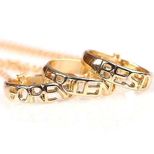 3pcs 'mejores amigos para siempre' anillo colgantes collares conjunto con langosta corchete de la joyería fina personalizada regalo para mejor amigo 45cm