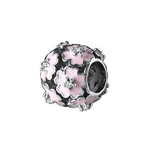 Romacci S925 plata electrochapada grano esmaltado rosa Primula flor CZ diamante para regalo de Navidad de 3mm pulsera/brazalete de la suerte mujeres fina DIY joyería