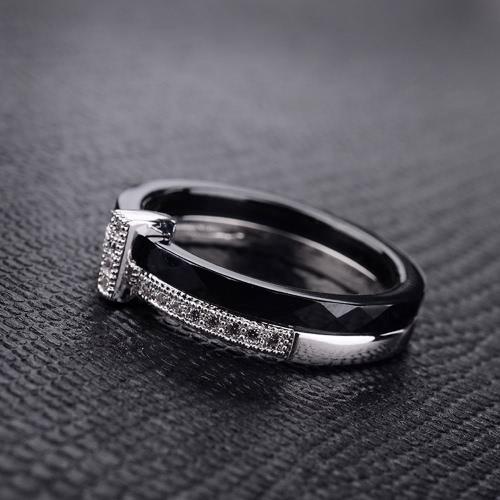Nano ceramica & S925 argento anello lucidato con CZ diamante incorporato bianco oro elettrolitico taglia #6 #7 #8