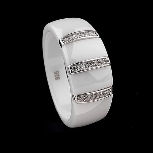 Anillo de la cúpula cerámica Nano pulido con S925 plata y CZ diamante incrustado blanco oro galvanizado tamaño #6 #7 #8 9mm ancho