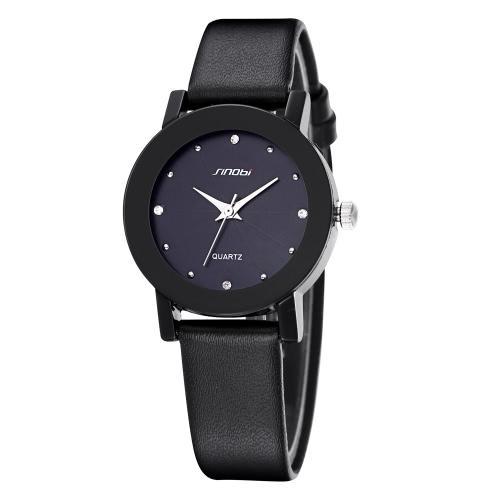 SINOBI Elegance Wodoodporny Rhinestone inkrustowany PU Leather Para Quartz Watch