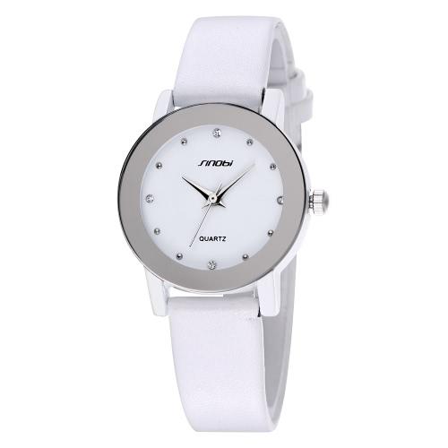 SINOBI elegancia cuarzo hombres mujeres reloj de pulsera resistente al agua Simple Dial Rhinestone incrustados PU suave cuero parejas relojes maravillosa hermosa su y suyo ver