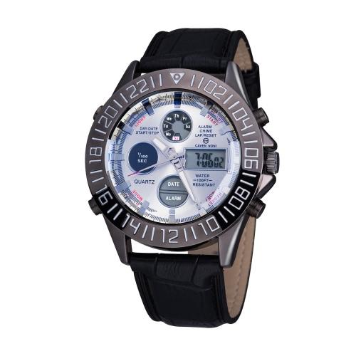 ASJ Men's Business Sport Wojskowy Wrap Wrist Quartz Watch Dual Ruch Japonki Analogowy Cyfrowy Wyś wietlacz Data Godzina Dnia Chronograf Chronograf Cow pasek Pasek 3ATM wodoodporny