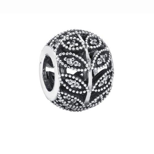 Romacci S925 plata hoja hueco elegante encanto grano con brillantes CZ diamante de 3mm pulsera brazalete regalo accesorio de la joyería DIY moda mujeres