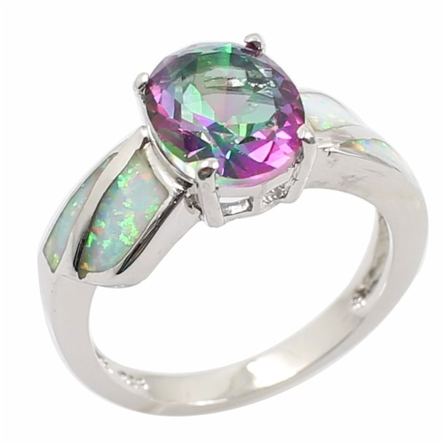 Manera brillante CZ diamante simulado Opal plata de ley 925 anillo mujer chica boda compromiso joyas accesorio